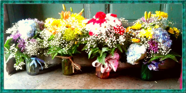 New For Mothers Day Bouquets in Colored Vintage Style Mason Jars