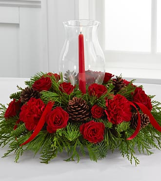Christmas Centerpiece with Candle in Hurricane Glass