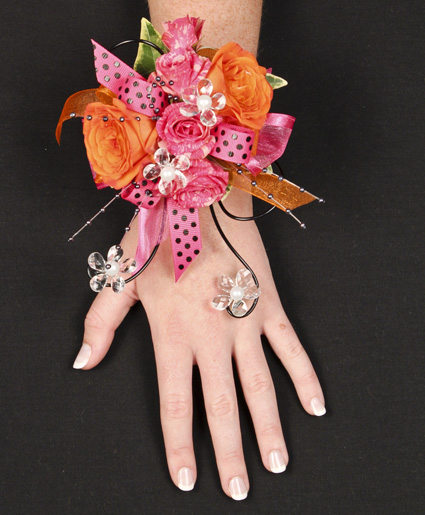 Hot Pink and Orange Prom Corsage