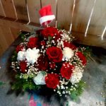 Christmas Flowers Santa Centerpiece